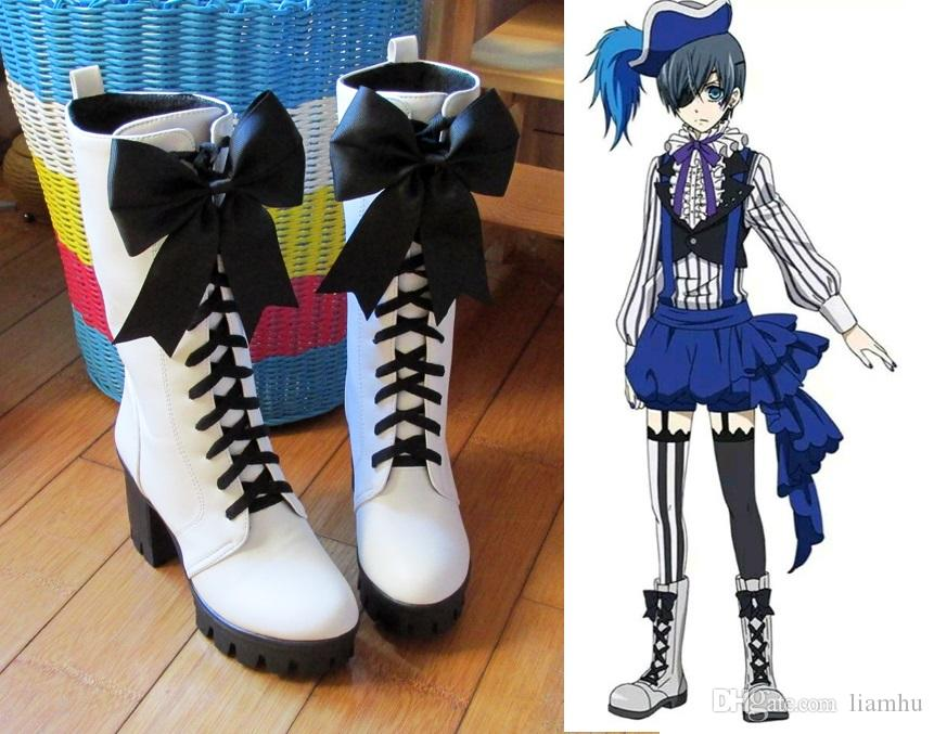 New Anime Black Butler Ciel Phantomhive Circus Cosplay Boots Lace-up High Heels Cosplay Shoes for Women/Men White Size 35-43