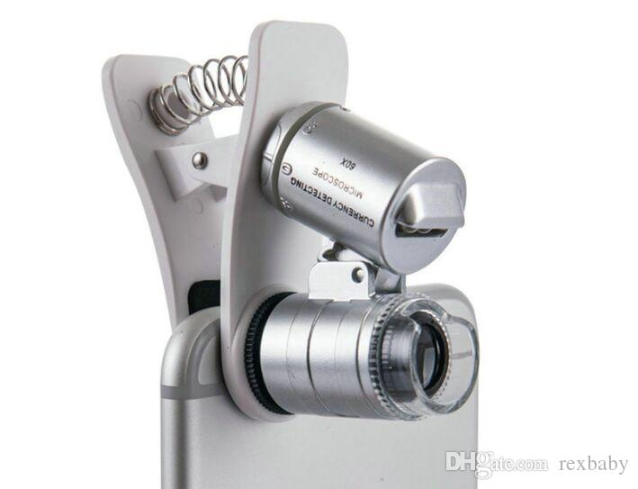 Lente di ingrandimento del microscopio del telefono 9882W Clip-On 60X con luci a LED / UV per SmartPhone universale Samsung HTC Magnifier