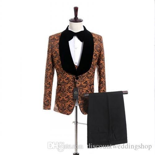 Smoking dello sposo di Paisley One Button Side Vent Man Blazer Uomini eccellenti Business Party Prom Abiti da lavoro (Giacca + Pantaloni + Vest + Papillon) J639