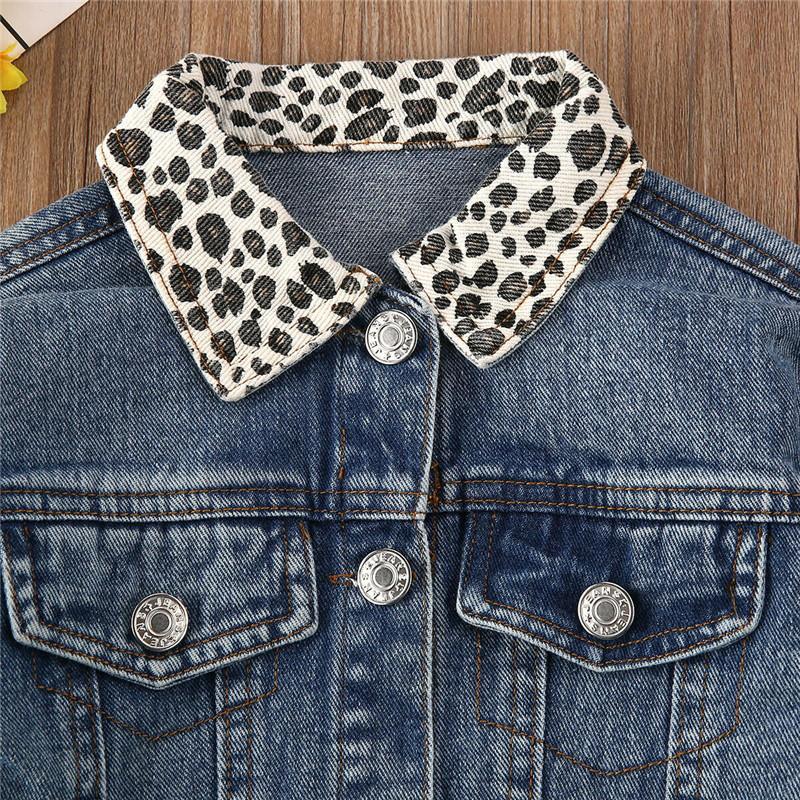 Девушка джинсовая куртка пальто леопардовый шеи новая мода детская весна осеннее пальто с длинным рукавом дети куртка детское пальто девочка девочки