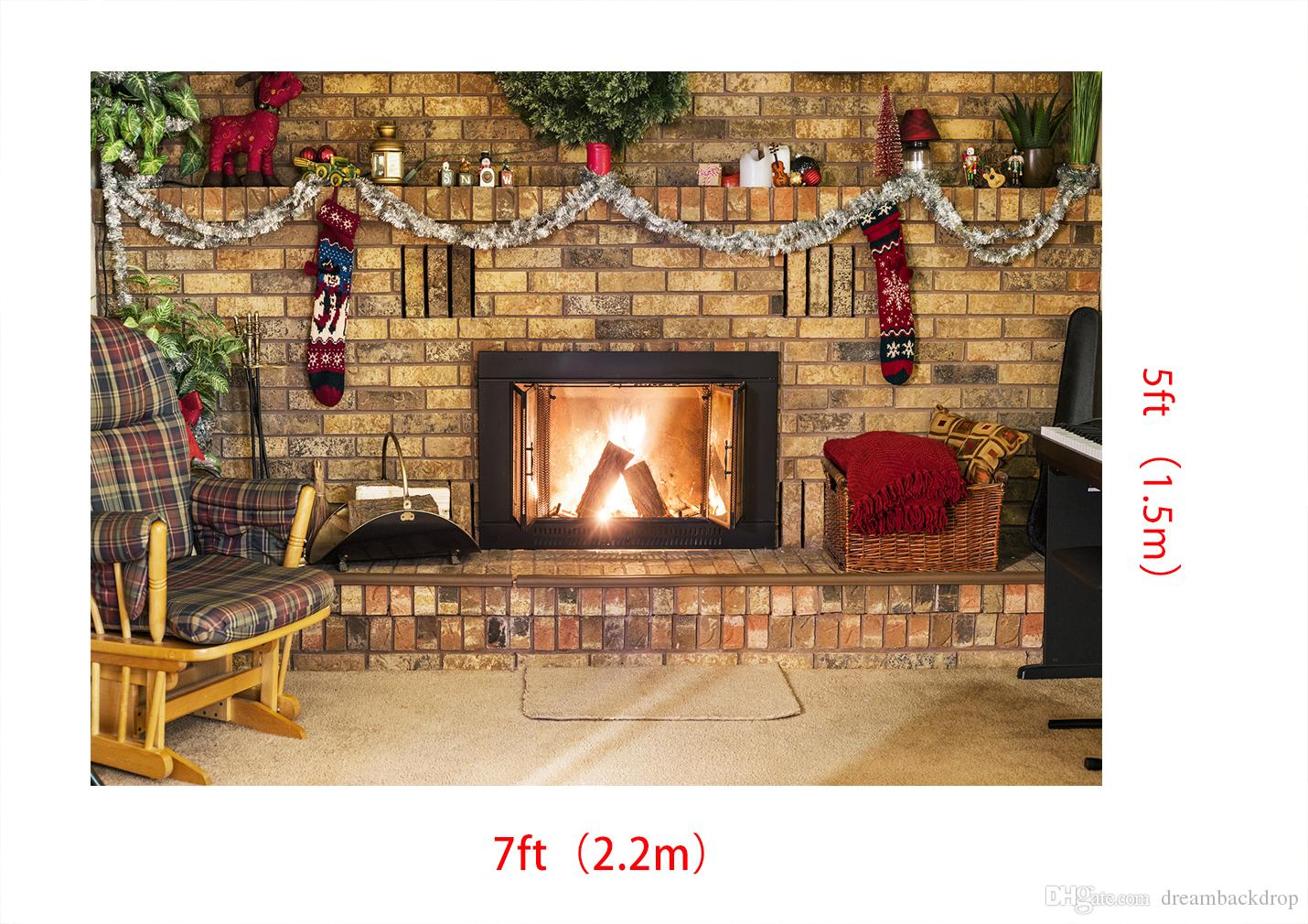 2019 Dream 7x5ft 220x150cm Christmas Backdrop Brick Wall Fireplace Photography Backround For Holiday Party Shoot Xmas Decoration Backdrops Studio From
