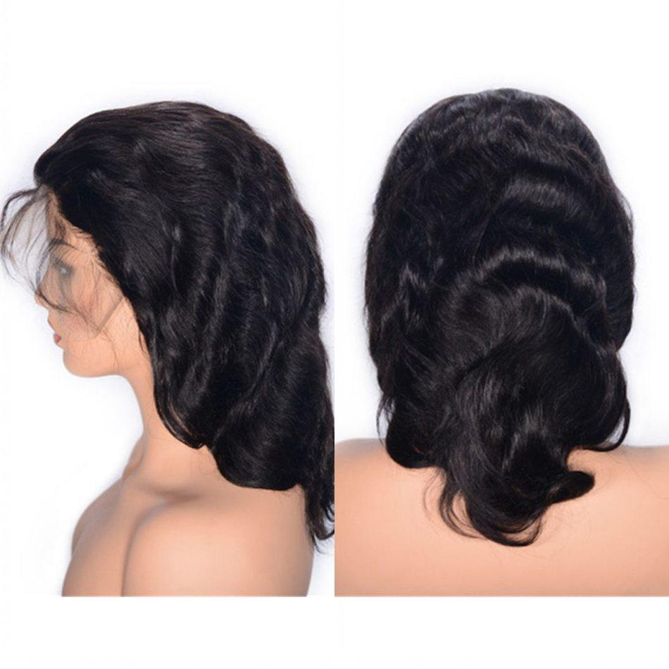 Mongolian Human Hair Lace Front Wigs Natural Color Virgin Hair Glueless Lace Wig 10 inches Body Wave Wig