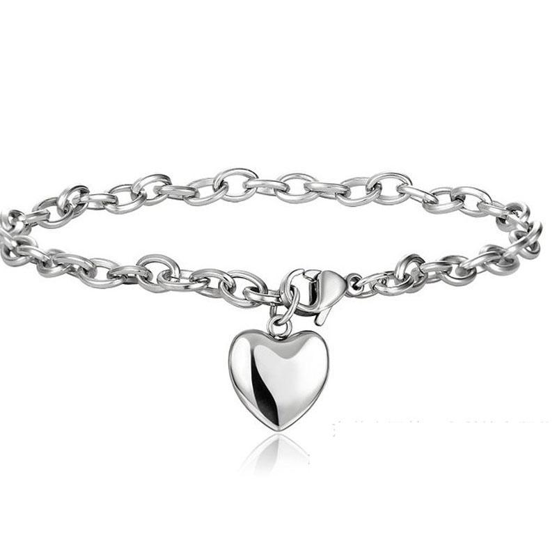 oulai777 bracelete de prata coração mulheres pulseiras de aço inoxidável jóias 2020 presentes Para As Mulheres Cadeia de acessórios na mão