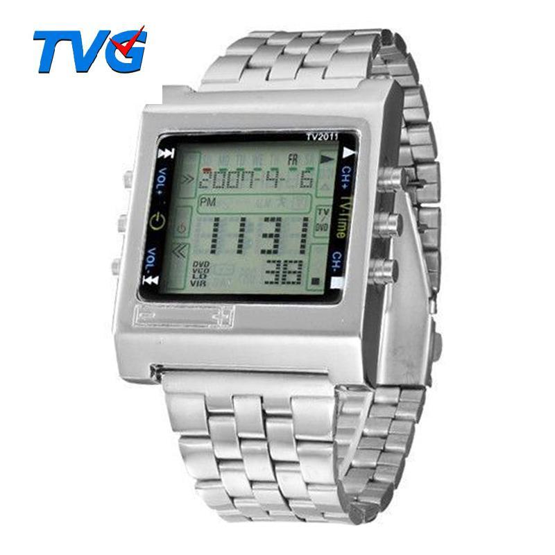 TVG Deportes relojes de cuarzo Militar LED Digital reloj de los hombres de alarma TV Reproductor remoto Hombres de acero inoxidable reloj de la manera informal LY191213