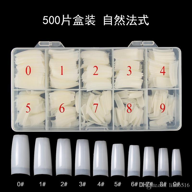 Box 500 acrilica falsa del chiodo del chiodo di punte trasparente bianco Natural Color francese della copertura completa di metà di punte ultra flessibile Dimensioni 10size falso unghie artificiali
