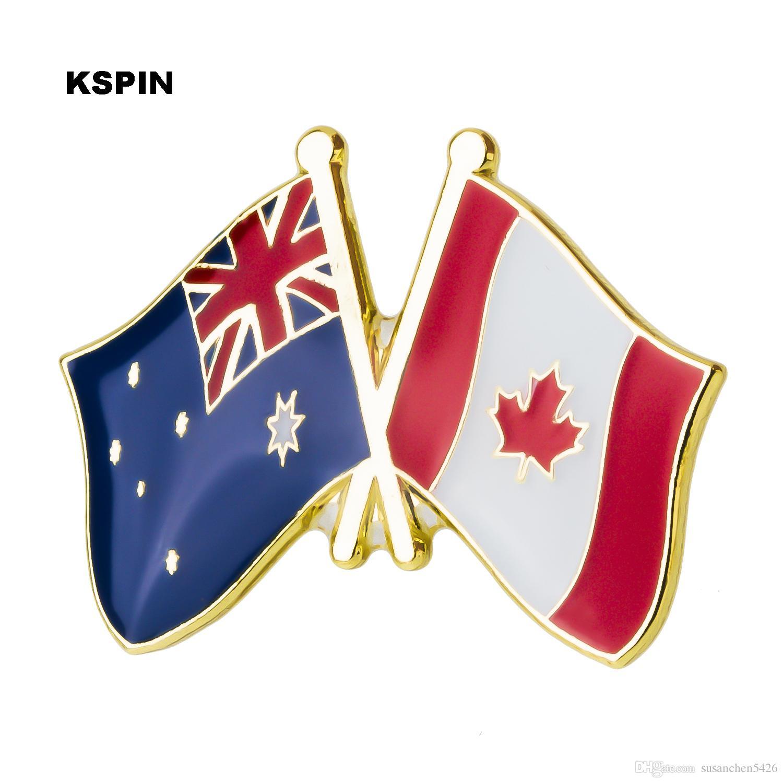 Distintivo in metallo Australia Canada Amicizia Bandiera Etichetta Pin Badge Icona Borsa Decorazione Bottoni Spilla per vestiti XY0272