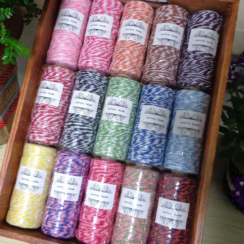 110 Yards Pro Spule 8ply Cotton Bakers Schnur Für Party Deco Geschenkverpackung Verpackung Baumwolle String 15 Farben Für Wählen
