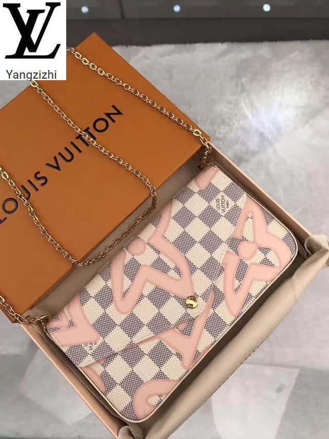Yangzizhi New Pochette Felicie Graffiti Siebdruck dreiteiliger Anzug N63106 Handtaschen Top Griffe Schultertaschen Totes Abend Cross Body