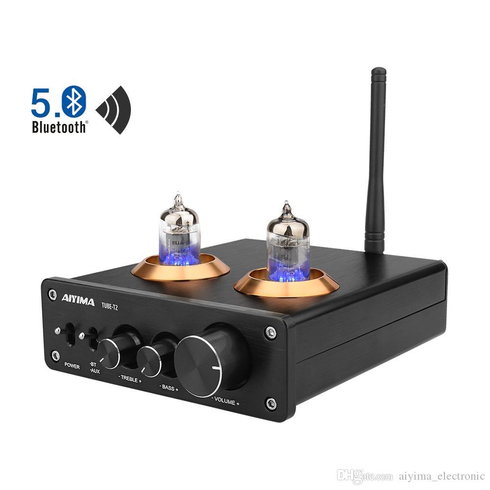 Aiyima 6J1 Вакуумная трубка усилитель усилителя Hifi Bluetooth 5.0 предусилитель AMP с регулировкой Tourble Bass Tone Home Sound Theatre