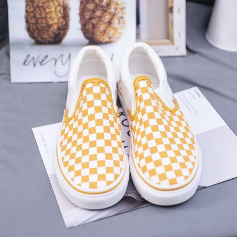 Nouveaux 2019 Femmes vulcaniser Chaussures Femme Printemps Automne jaune Slip Plaid Canvasmen sur talon bas à damiers porter dames résistant