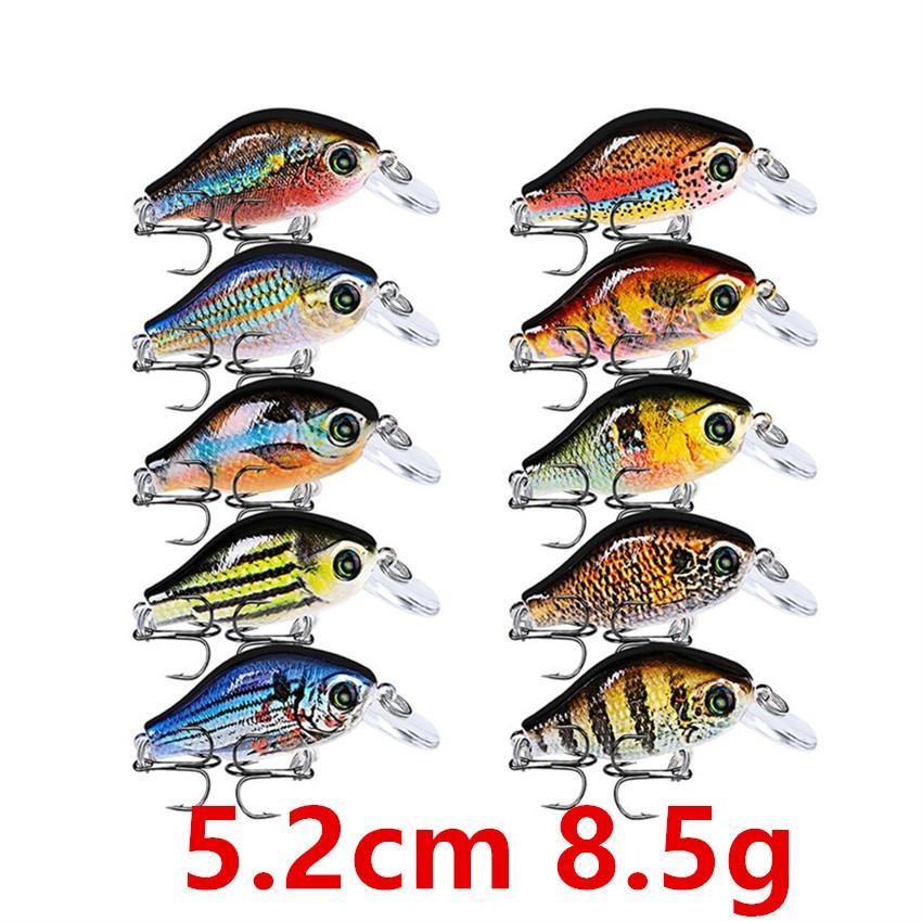 10-colore 5,2 centimetri 8.5g manovella di plastica dura esche esche da pesca Ganci 8 # Hook Pesca Pesca Tackle Accessori WL-27