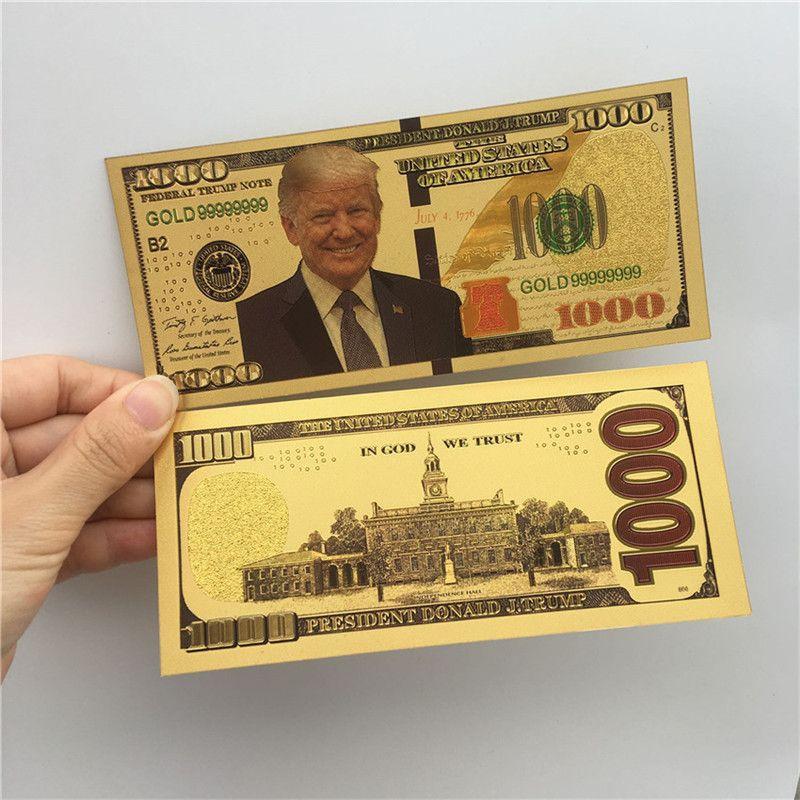 Donald Trump dólar estadounidense Presidente del billete de banco hoja de oro Cuentas América Elección General Supply recuerdos falso cupón dinero E3408