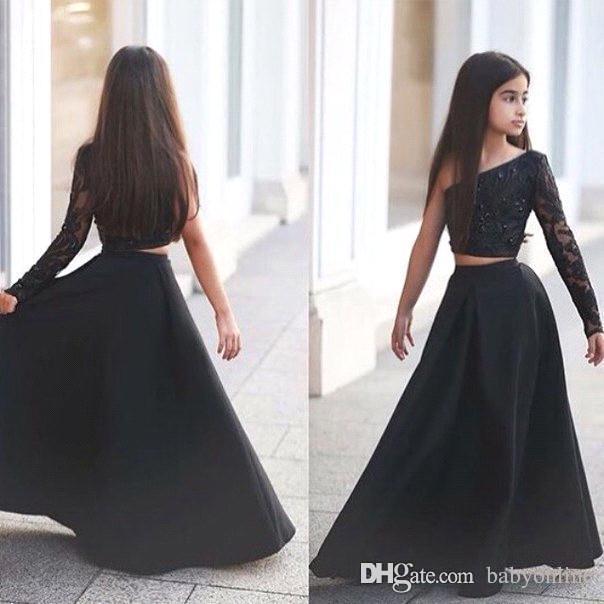 Arabo Said Mhamad Nero Una spalla manica lunga bambini Prom Dresses Una linea a due pezzi in rilievo Flower Girls Abiti BA1435