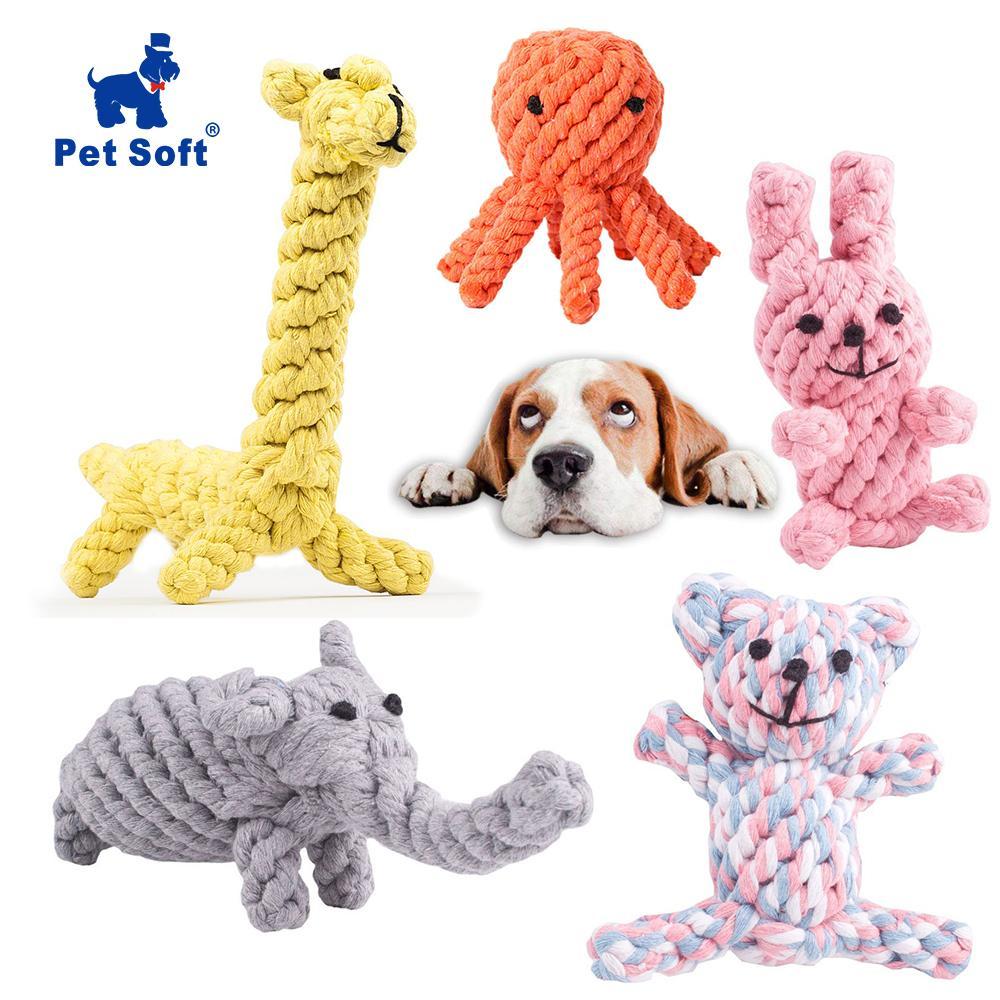 Pet Soft Hundespielzeug Animal Design Cotton Dog Rope Toys Strapazierfähiges Baumwoll-Kautraining für kleine bis mittlere Welpen