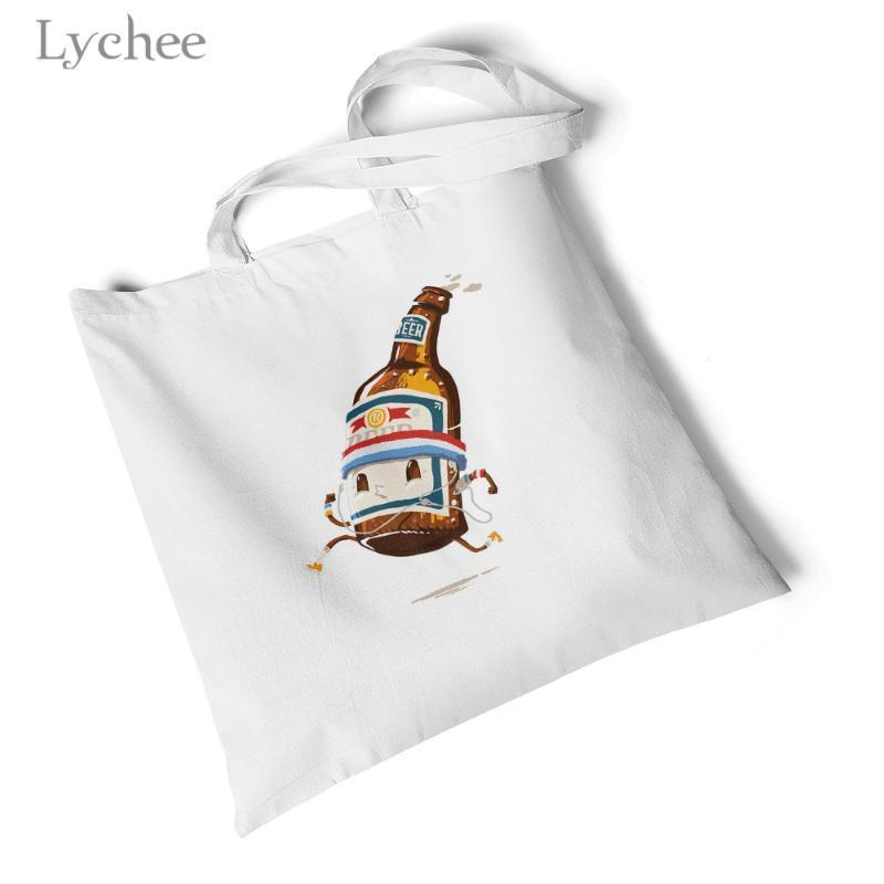 Litchi Harajuku Women della tela Bag divertente Burger Stampato Shoulder Handbag riutilizzabile Shopper Bag Semplice Viaggi Eco Totes