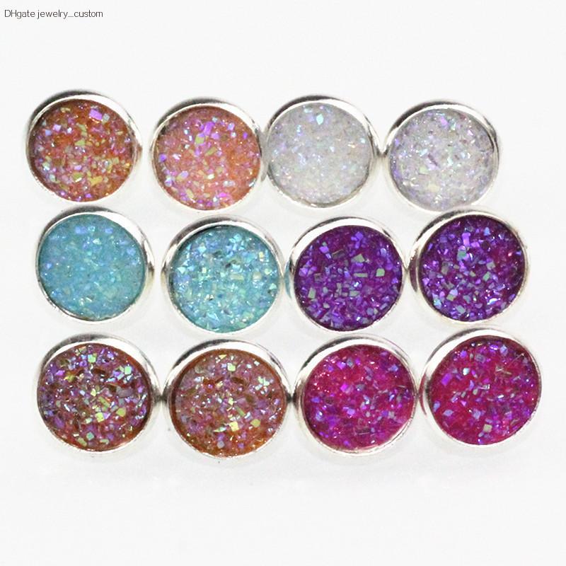 Neue Mode 6 Farben Runde Kristall Mode Ohrstecker Ohrringe Candy Farbe Charming Ohrstecker Für Frauen Und Mädchen Geschenk E073
