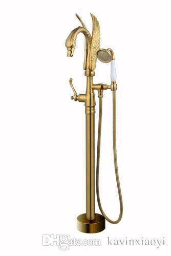 NEW Standgoldfarbe Bodenmontage Schwan Badewanne Dusche Wasserhahn mit Handbrause Einhand