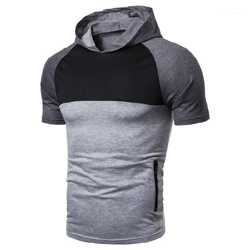 Camiseta del verano del resorte de la ciudad hombres de la manera Ropa Hombre camiseta Diseñador panelado con capucha de manga corta ocasional delgado