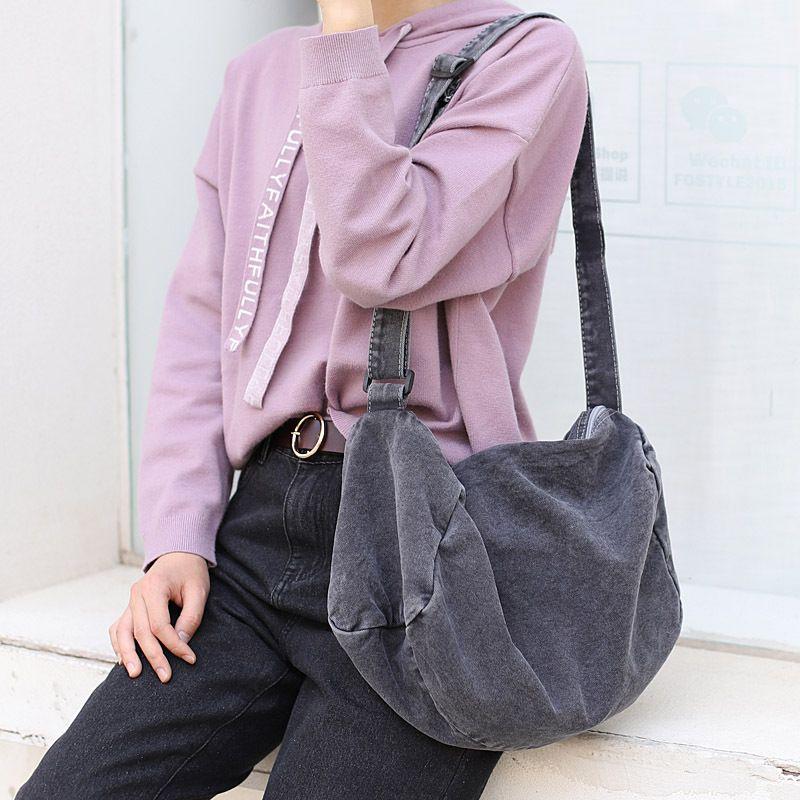 2019 New Female Korean Version Of The Simple Retro One-shoulder Casual Wash Old Zipper Canvas Bag Wild Sen Literary Messenger Bag