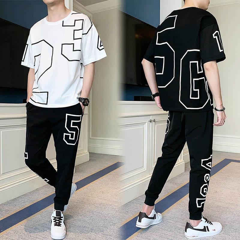 Vêtements exercice Fitness Hommes Mode Hommes Casual T-Shirt + Pantalons longs en deux parties Costume Homme Survêtements Loisirs actifs Thin Taille M-4XL
