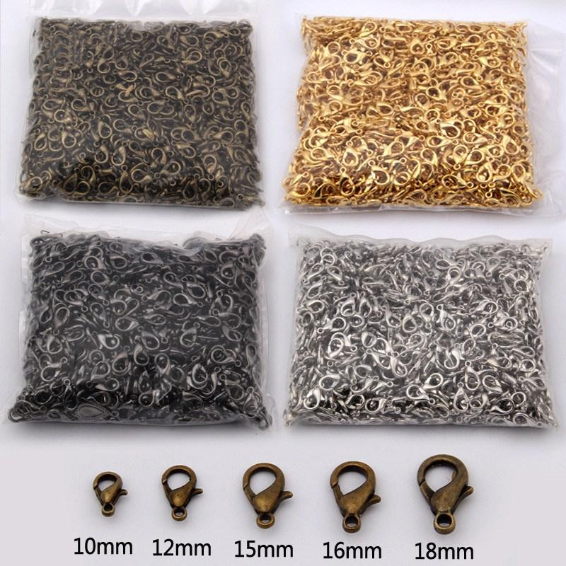 1000pcs / Lot Lobster Clasps For أساور القلادات 10-18m Hooks Chain Closure Findings Touques for Jeweler Making Components الجملة