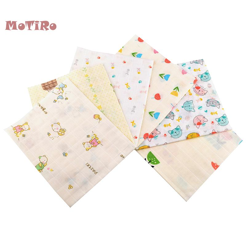 MoTiRo,6pcs/Lot,Cotton Double Layer Plain Gauze Fabric For Quilt/Sewing Baby Bath Towel,Underware,Diapers,Bibs Cartoon Material