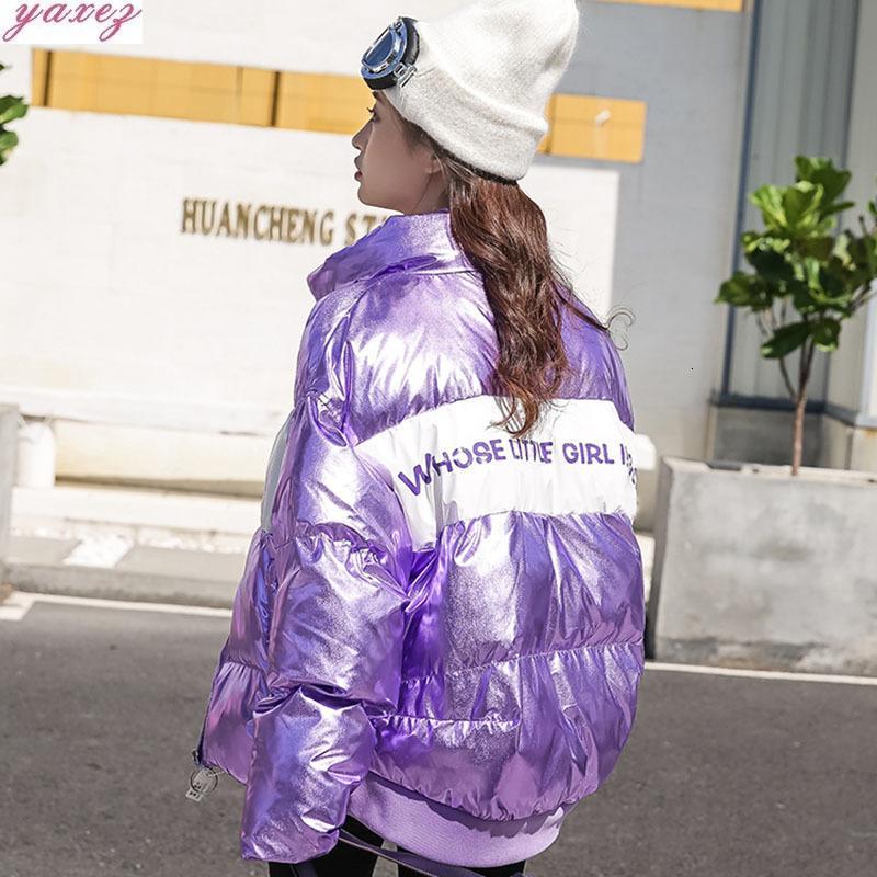 2019 Mujer de invierno impermeable de Down Parka de algodón multicolor de impresión de letras Damas Puffer Jackets Espesar Caliente brillante Mujeres Abrigo