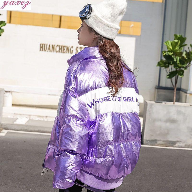 2019 Mulher do inverno impermeável Down-algodão Parka Multicolour Carta Imprimir Ladies Puffer Jaquetas Thicken Aqueça Glossy Mulheres Overcoat