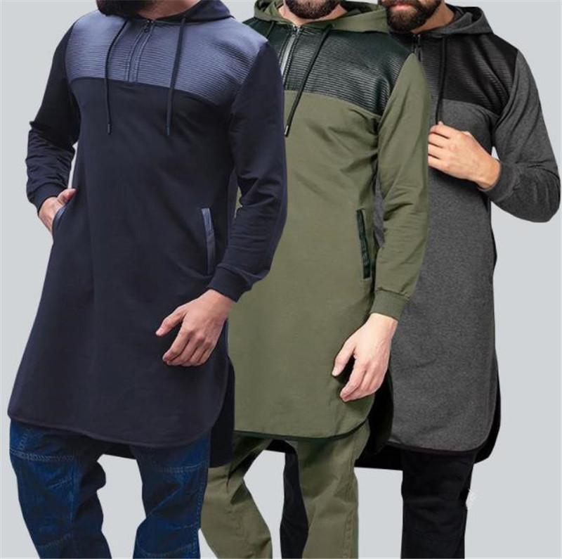 Artı Boyut Erkek Tasarımcı Kapüşonlular Moda Günlük Kasetli Fermuar Kapşonlu Uzun Sweatshirt Yeni Geliş Erkek Giyim