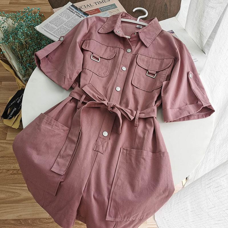 Summer Safari Style Playsuit Women Pink Purple Short Sleeve Loose Wide Leg With Belt Fashion Harajuku Jumpsuit Overall T200620