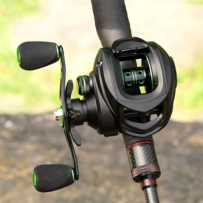 Baicasting Reels Linnhue 2021 Bobine 8. 7.2: 1 Basse de la carpe Pêche 8kg Max Faites glisser la main droite avec frein magnétique