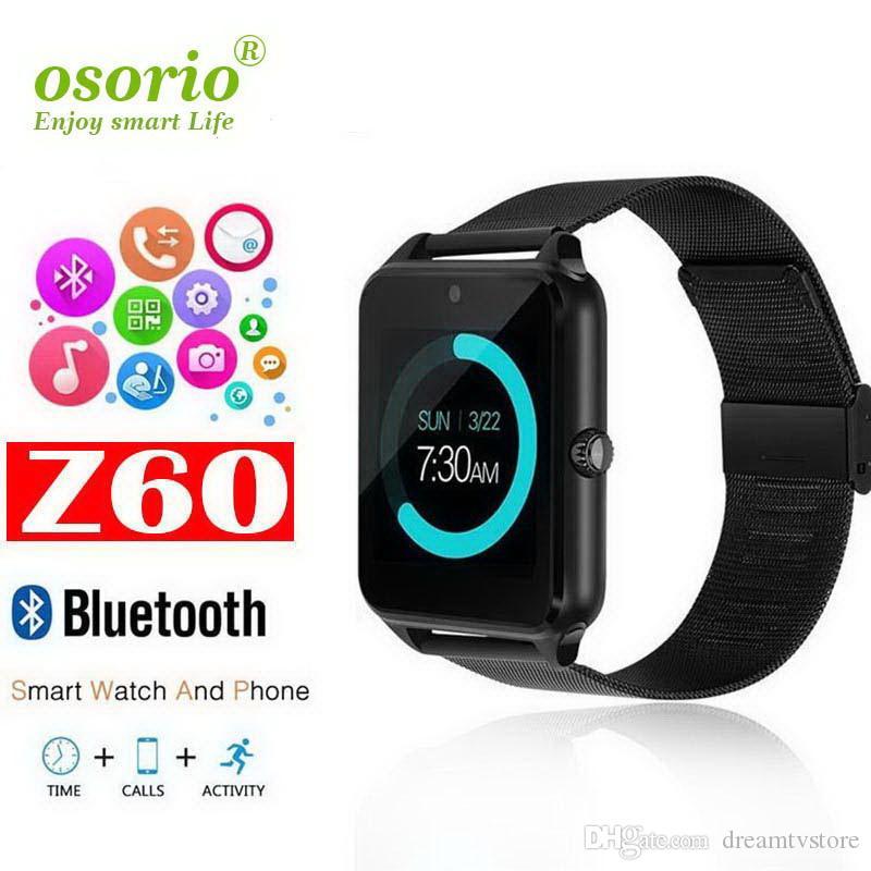 Карты Bluetooth Смарт телефон вахты Z60 нержавеющей стали Поддержка SIM TF камеры Фитнес Tracker GT08 GT09 DZ09 A1 V8 SmartWatch для IOS Android