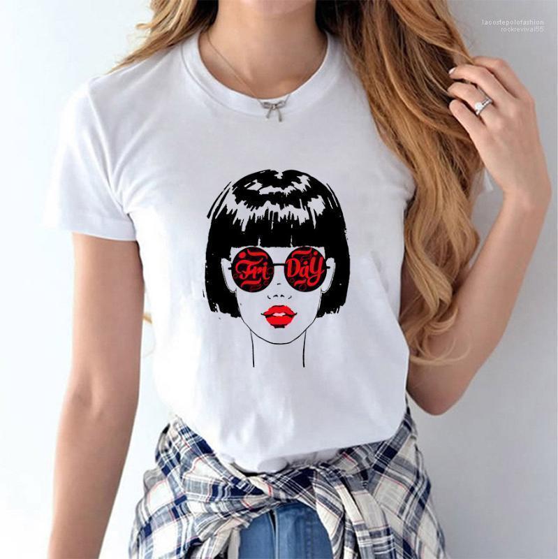 Мода повседневная с короткими рукавами белые девушки дизайнерские топы тройники женщины симпатичные 3D печатные футболки лето