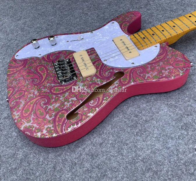 브래드 페이즐리 퍼플 스파클 TL 일렉트릭 기타 세미 할로우 바디 커스텀 샵 중국 TL 기타 착용 사용자 정의 왼손잡이 도로