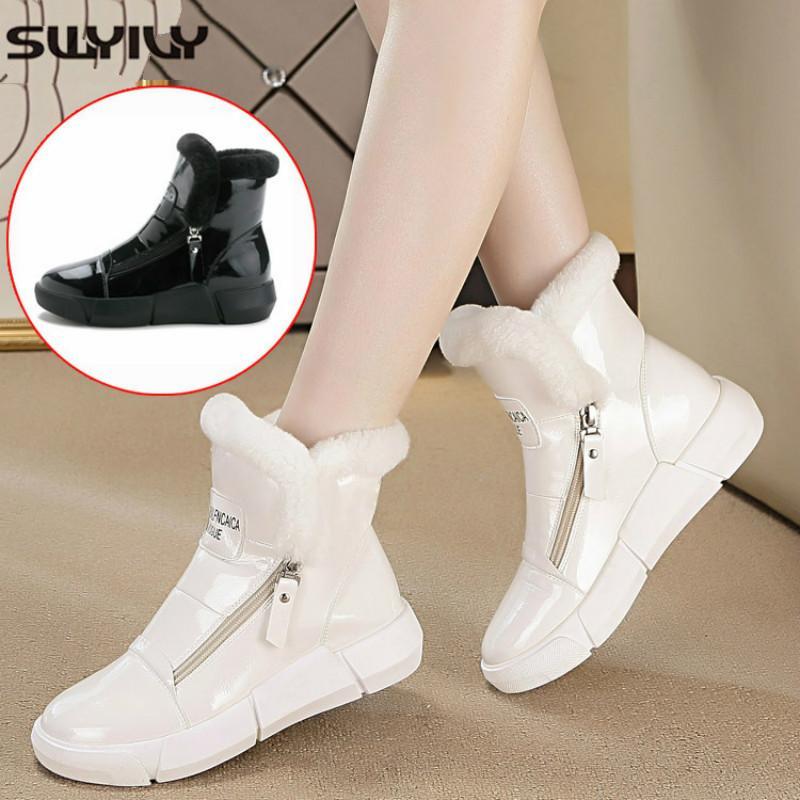 Zapatos caliente SWYIVY invierno de la mujer blanca zapatillas de deporte del top del alto de la cremallera 2019 de invierno de terciopelo de piel de señora Shoes Casual Negro zapatillas de deporte de la plataforma Y200109