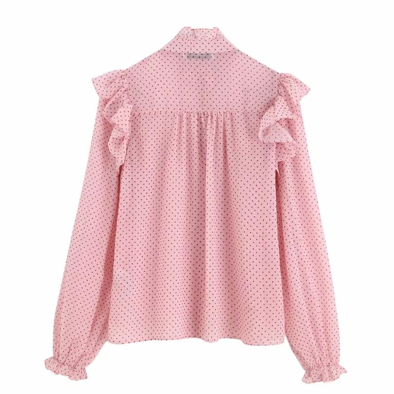 2019 women sweet cascading ruffles dots printing casual blouse shirts female long sleeve chiffon chemise chic blusas tops LS4170 MX200407
