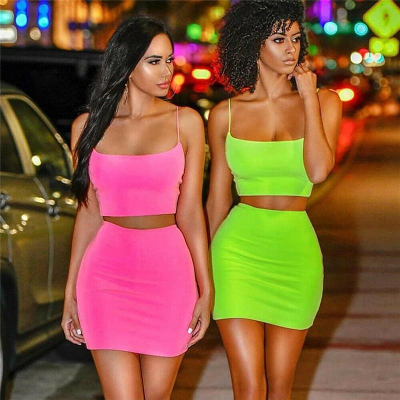 Женщины набор Sexy 2 шт Эпикировка Женщины Bodycon платье Crop Top и юбка Set бинты платья партии одежды