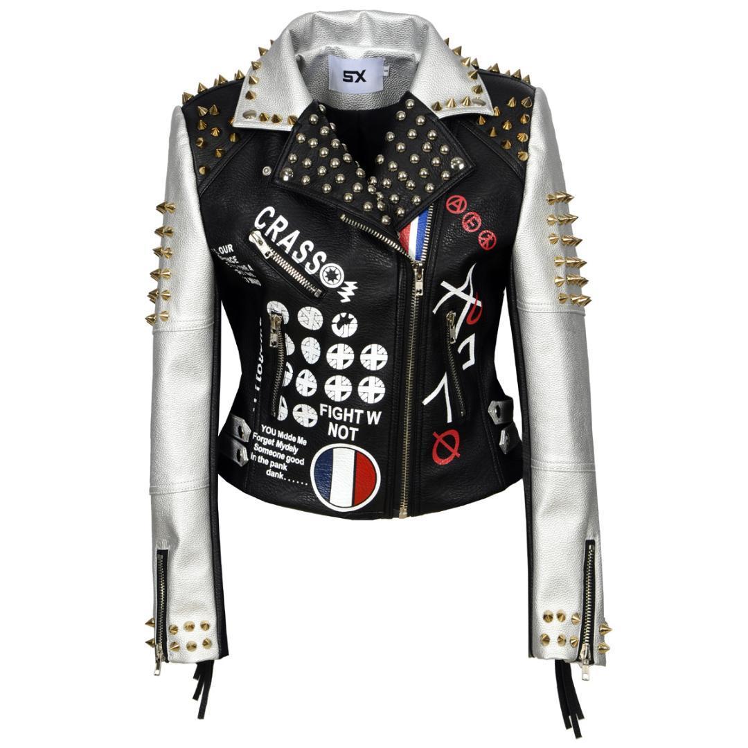 Giacca in pelle S alla XXL 3XL PU Lettera Donne Stampa Graffiti Rivetti cappotti Punk Biker frange Moto Cazadora Cuero Mujer