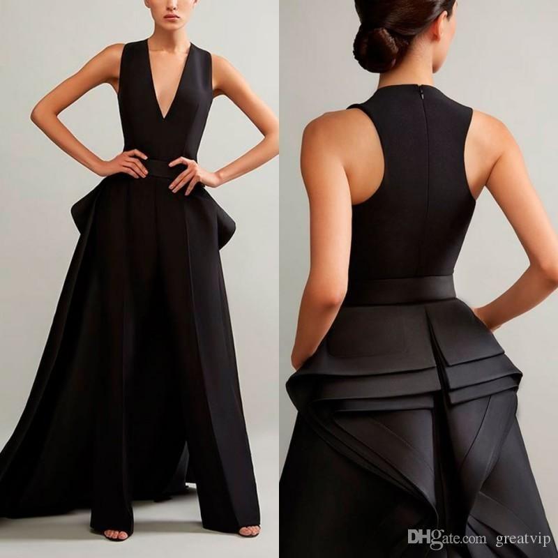 Ashi Studio 2019 Prom Dresses Jumpsuits With Detachable Train Pants Suits Formal Wear Evening Gowns Plus Size V Neck Satin Abendkleider