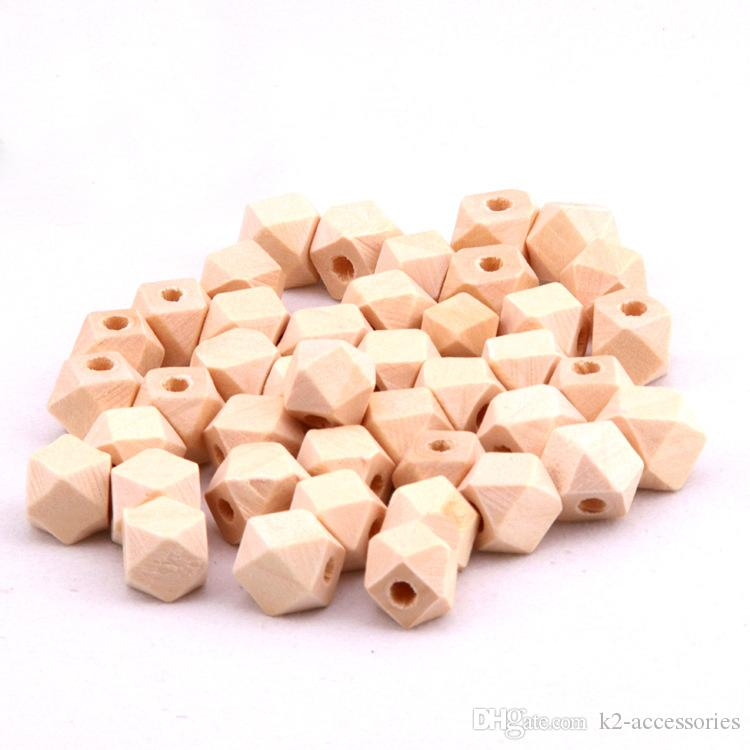 10mm -18mm DIY Wooden Beads Color Geometric Wooden Beads for Baby Teething Necklace