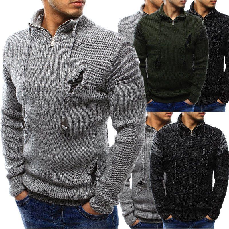 Herren Halb Reißverschluss Warm dicke Pullover Langarm Jogger beiläufige Knit Slim Fit Herbst-Winter-Männer Neue dicke Pullover