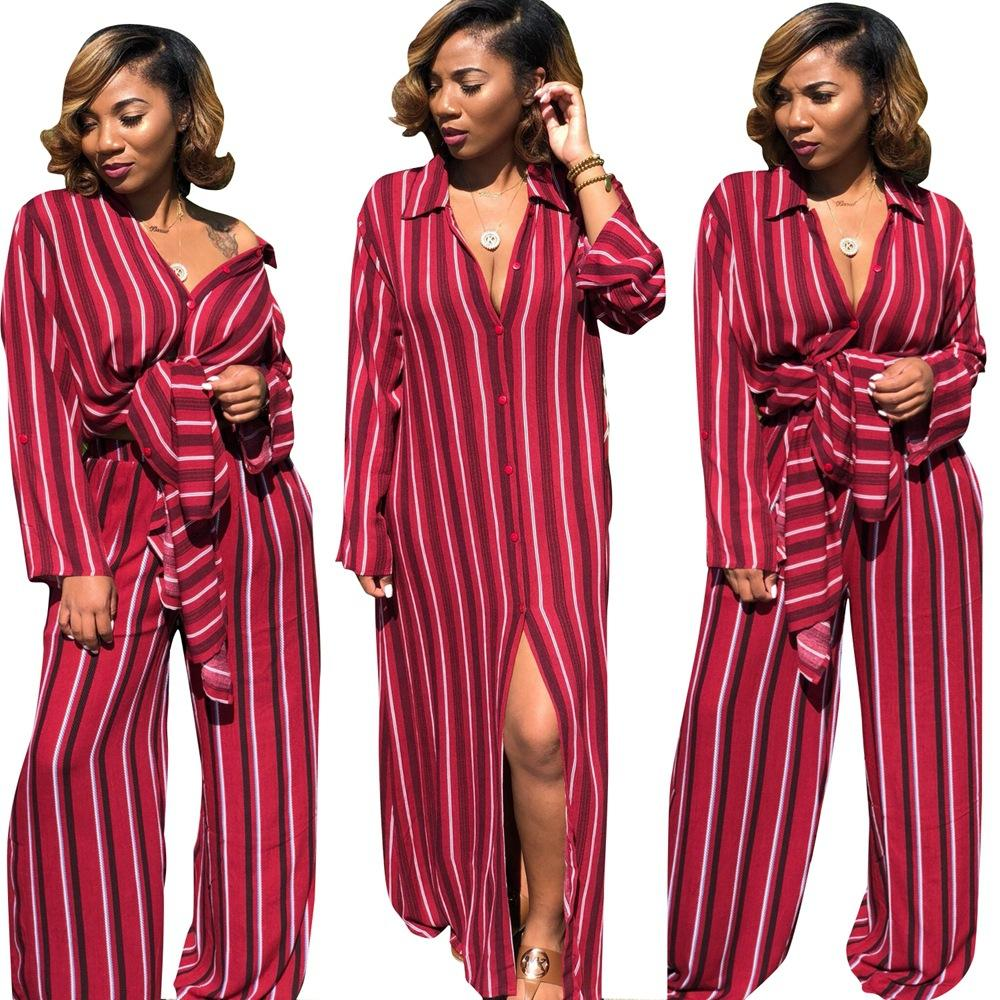 2019 WOMEN Vertical Striped Casual 2 Piece Set Spring Turn Down Collar Full Sleeve Maxi Shirts And Long Wide Leg Pockets Pant Set