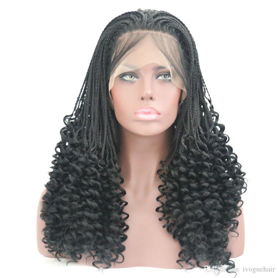 Mode 3x Boîte Tresse synthétique perruques Cospaly bouclés Racine avant de dentelle perruques main Tied résistant à la chaleur fibre perruque de cheveux noir pour les femmes