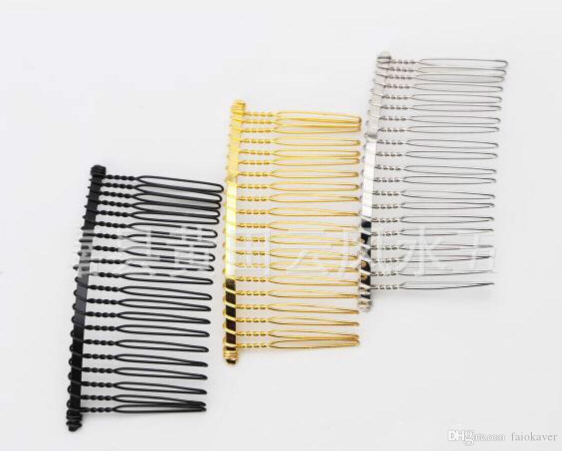 Metal Bride Hair Combs For Wedding Veil Gold Silver Black Wire Headband Headwear Plug Comb Hair Accessories Crown