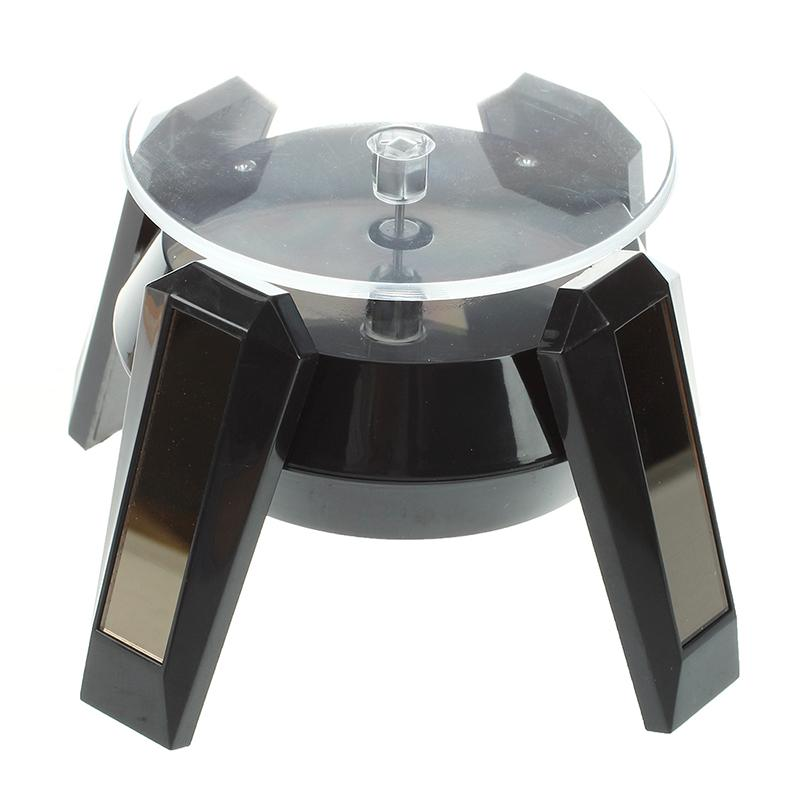 Top-Black Solar Powered Jewelry Phone Watch 360 angle Rotating Display Stand Turn Table with LED Light