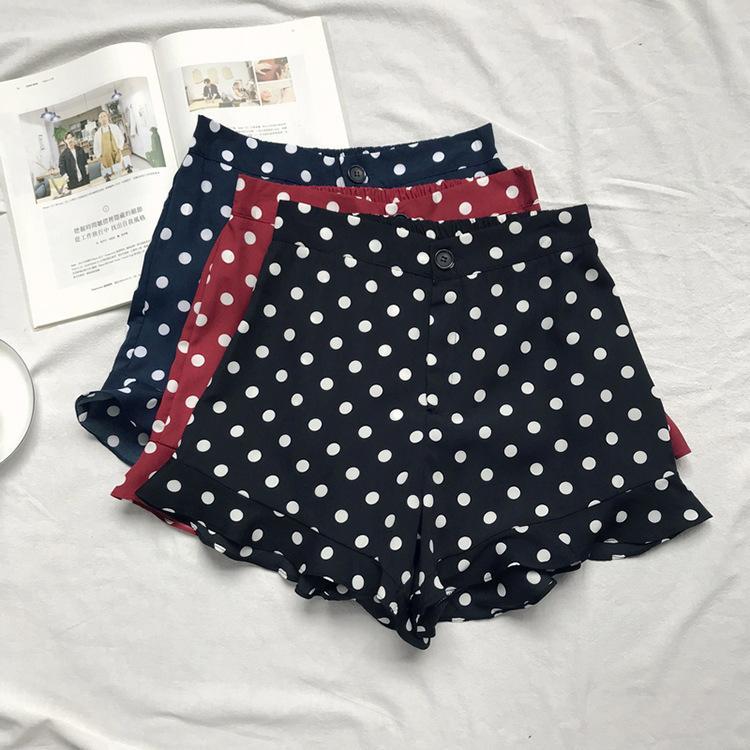 Summer Restore Women Ruffle Skirt Shorts High Waist Red Blue Black Hotpant High Waist Dot Chiffon Shorts Y19050905