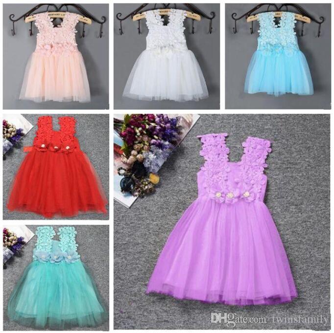 Neonate vestiti delle ragazze del Crochet del merletto conferiscono al vestito prendisole abiti infantili fiore Solid bambino vestito da ballo partito principessa Dresses compleanno C648