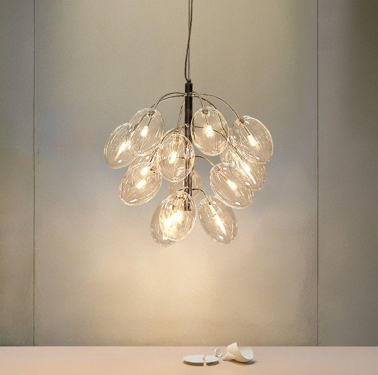 Lampadina Post Modern creativa Dinning Room vetro G4 LED Pendant Light Fixture Norbic Deco domestico d'oro Ferro dell'uva LLFA Lampada a sospensione