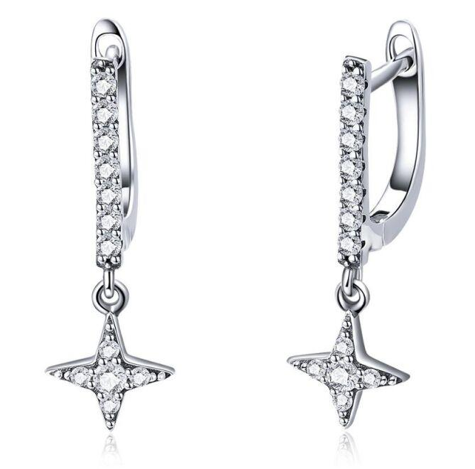 SCE446 fashion sparkling cz zircon stone crystal ear clip 925 sterling silver studs earring star jewelry women girls