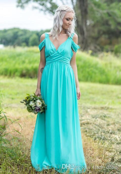 Vestido de dama de honra chiffon de chiffon do país ocidental para casamentos de praia de jardim uma linha de vestido de honra com mangas de capuz